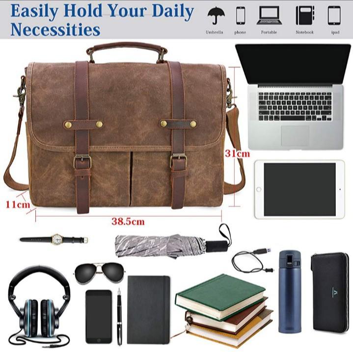 004ade85b7 Mens Messenger Bag 15.6 Inch Waterproof Vintage Genuine Leather Waxed  Canvas Briefcase Large Satchel Shoulder Bag Rugged Leather Computer Laptop  Bag, Brown, ...
