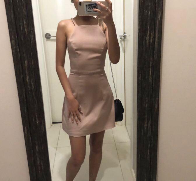 Mini halter neck dress nude cream size 6 XS (RENT OR BUY)