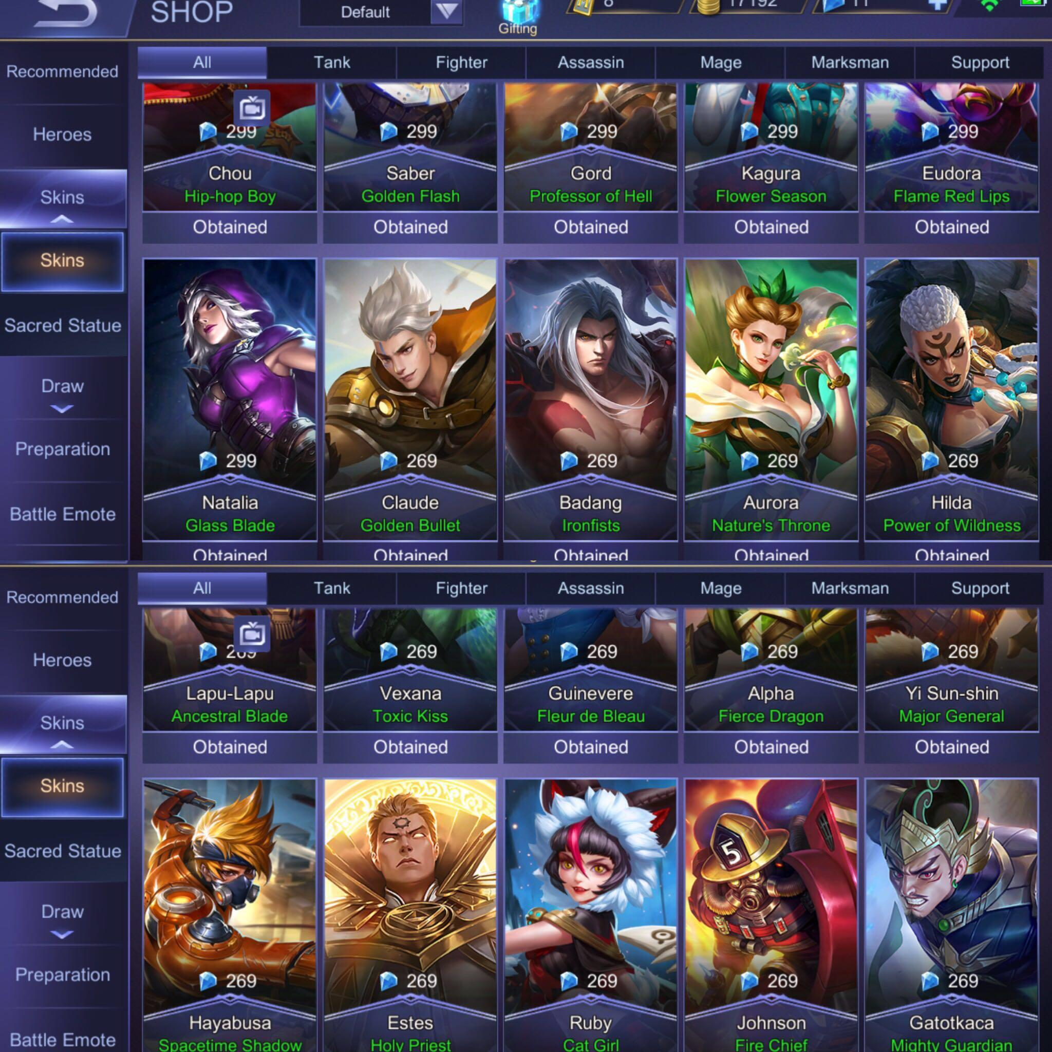 Mobile Legend Mythic Tier( Android Server) +skins, Toys