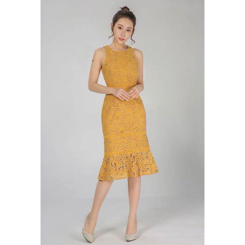 96c5e9efb43c Mustard lace mermaid fishtail midi dress, Women's Fashion, Clothes ...