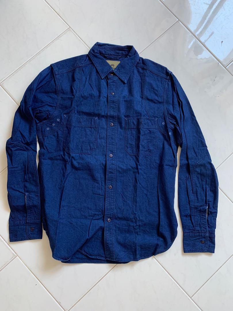 ccb82e6cbad7 Nigel Cabourn Mainline Indigo Medical Shirt size 48