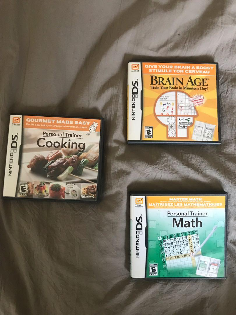 Personal Trainer Math and Cooking + Brain Age Nintendo DS Games