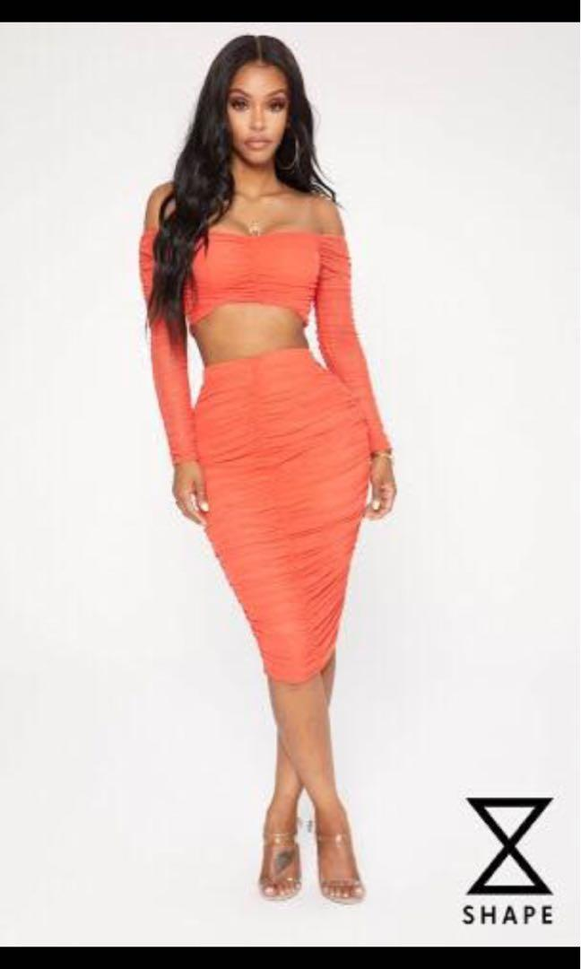Pretty little thing midi skirt and crop long sleeve