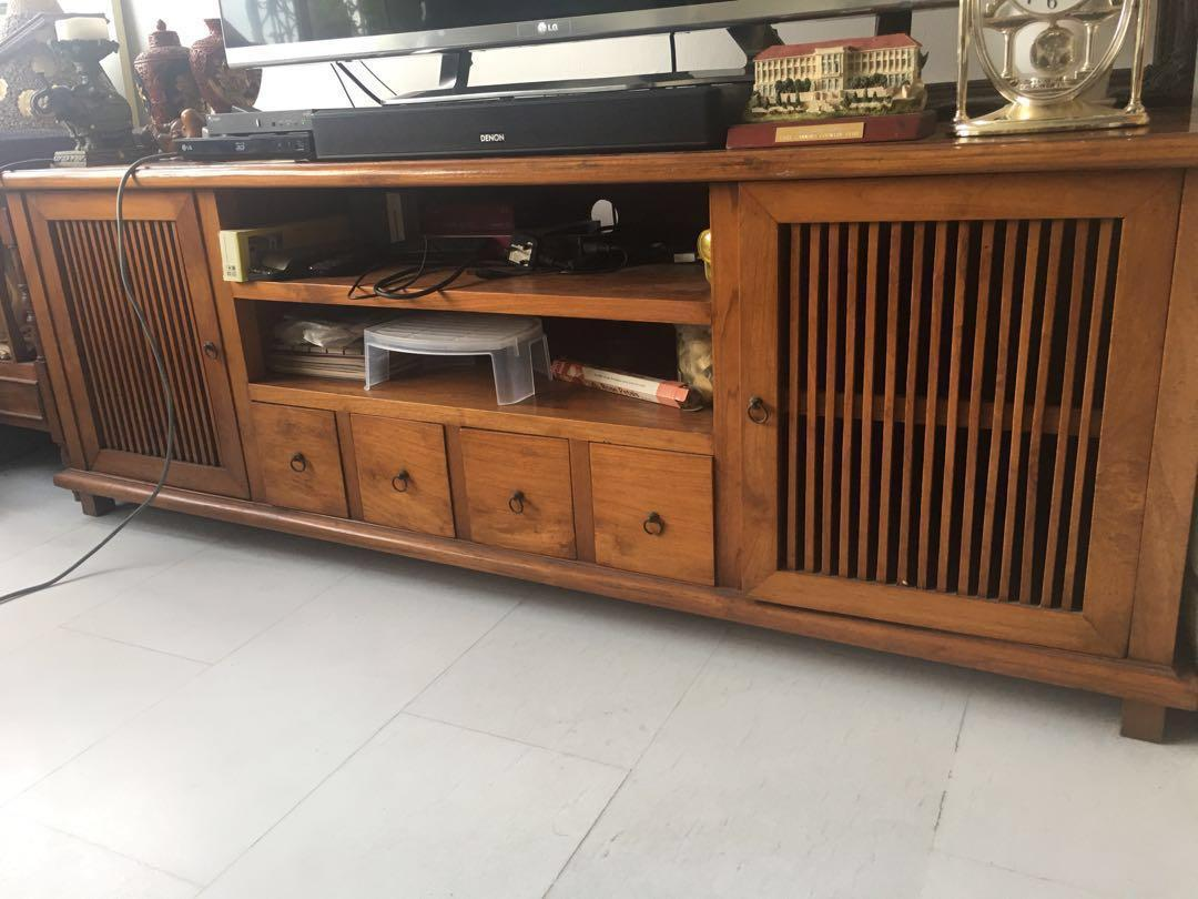 Solid Teak Wood Tv Console Cabinet Furniture Shelves Drawers On Carousell