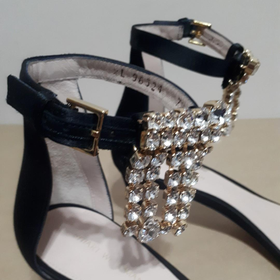 Stuart Weitzman Crystal 45 Fringe Nudist Black Satin Heels Size 7.5