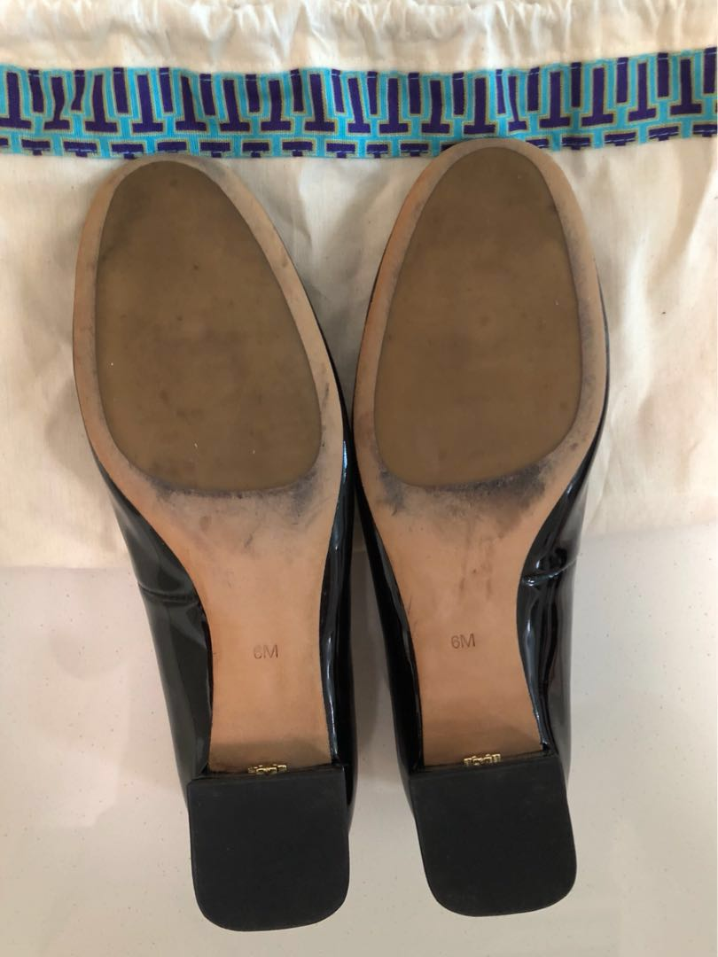 0799718349b5 Tory Burch Gigi Pumps - Patent Leather Black Gold 6M  ENDGAMEyourEXCESS