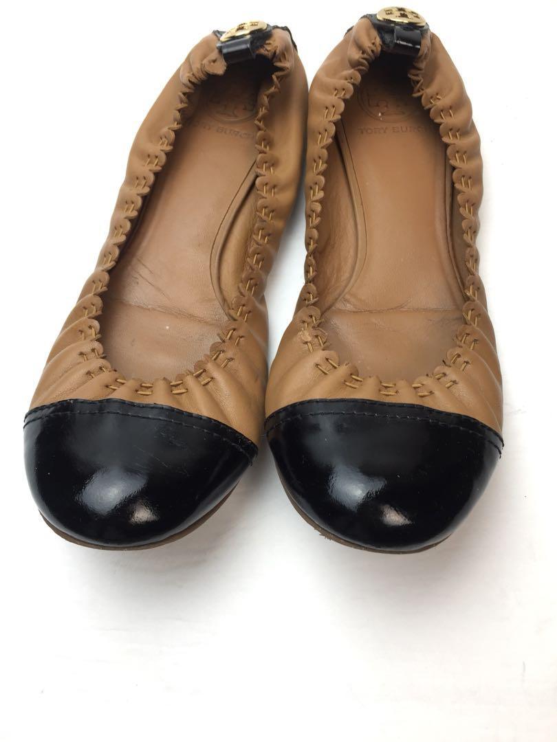 Tory Burch  Women Leather Scalloped Toe Cap Ballet Flats Shoe