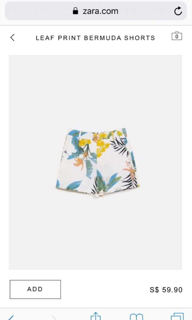 83427df0 Zara leaf print bermuda shorts, Women's Fashion, Clothes, Pants ...