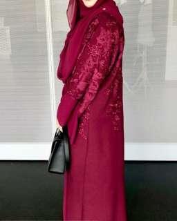 Embroidery Maroon Dubai Abaya