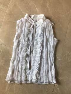 💥免費 FREE💥白色蕾絲半透視背心恤衫 white lace transparent vest shirt