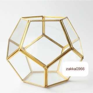 🚚 台灣出貨 zakka 收納盒 飾品收納 玻璃盒 銅製 珠寶盒 球型 金色 求婚必備 情人節 微景觀花器 LBO12F4