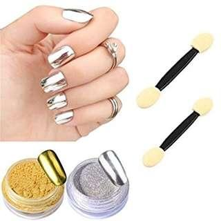 Nail Powder Mirror / Bubuk Kutek Warna Silver