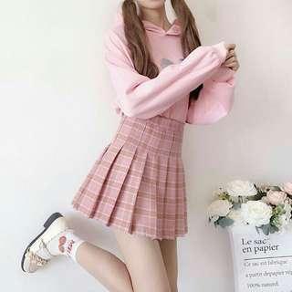 🚚 粉紅格子百摺短裙