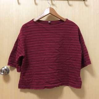 🚚 Uniqlo Women Striped Wide 3/4 Sleeve T-shirt Maroon / Dark Red