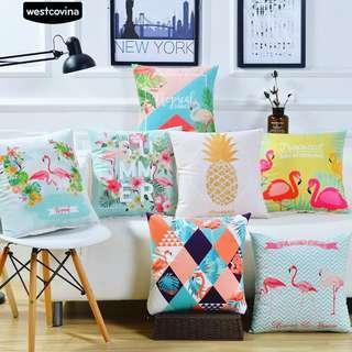 Cushion Cover Sarung Bantal Unik Modern Flamingo Tropis