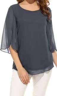 Dark gray Chiffon blouse big size ukuran besar