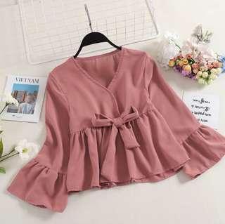 🚚 Dusty Pink Chiffon Babydoll Top