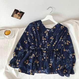 🚚 Blue Babydoll Floral Chiffon Top