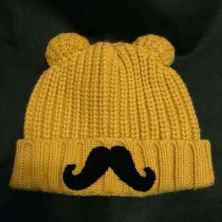 🚚 芥末黃鬍子熊耳毛帽