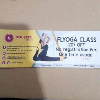 Soulfit Studio Flyoga Class 20% Off voucher