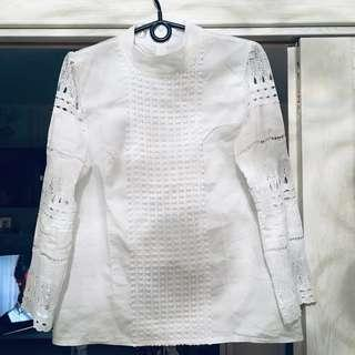 Long-sleeved Blouse White Lace Plus Size