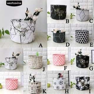 Storage Serbaguna Linen Basket Geometri Black and white