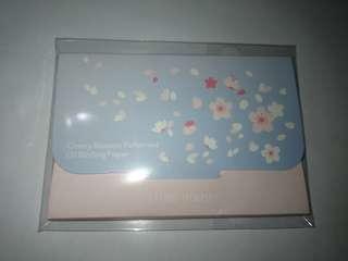 Etude house cherry blossom patterned oil blotting paper 25pcs