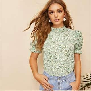 P2mart ✌🏼✔Pre order stock ✔ Green Ditsy Floral Frill Neck Puff Sleeve Top
