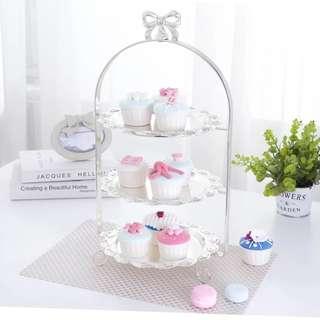 三層歐式蛋糕點心架甜品架鍍銀水果托盤