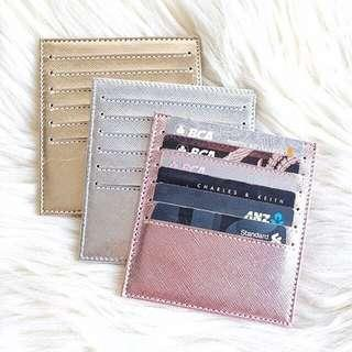 Card Holder 12 Slot Metalic Rose Gold / tempat kartu rosegold dompet