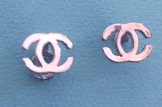 Silver CC stud earrings