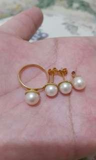 Set Perhiasan Emas Asli 14k 585 Cincin,anting,liontin