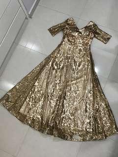 Gold Color Long Dinner Dress