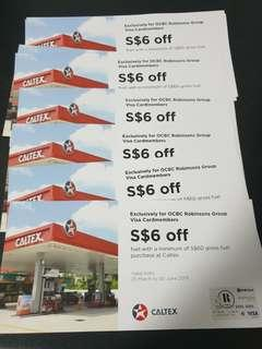 Caltex Petrol $6 discount vouchers! 8pcs available! For gross fuel purchase