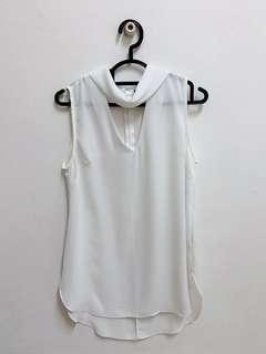 PRIMARK UK Atmosphered | White Chiffon Collar Top