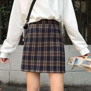 🚚 韓版復古格子A字裙