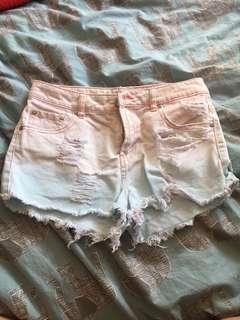 Tie dyed denim shorts