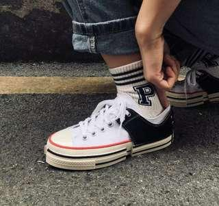 HANDMADE CUSTOM CONVERSE ALL STAR STYLE JAPAN SNEAKERS CANVAS SHOES BLACK/WHITE
