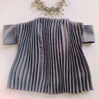 Love Bonito Covet Telese Pleated Off Shoulder Tube Top in Grey