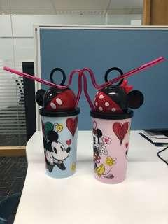 Mickey and Mini cup with Straw valentines