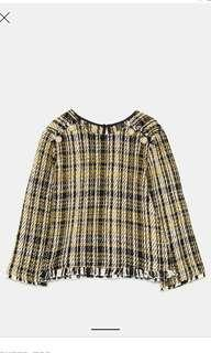 Zara yellow tweed top buttons