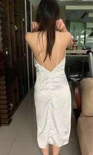 White slip dress with slit