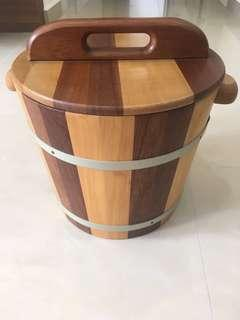 Wooden rice bucket  ( diameter : 10.5 inches , depth : 8.5 inches )