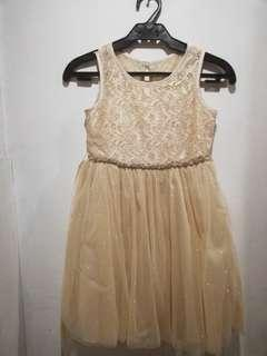 Rare Editions Glittery Gold  Tulle dress