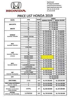 Price List Mobil Honda