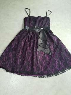 Party Black Lace Purple Dress