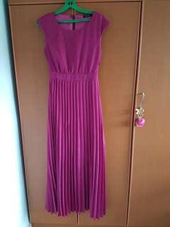 purple open back long dress / gown