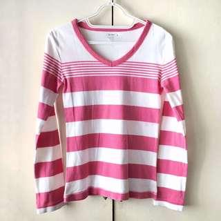 Old Navy Girls' Pink / White Long Sleeves Top (Size XL)