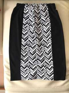 Aland black and white with geometric patterns high waist stretchy skirt