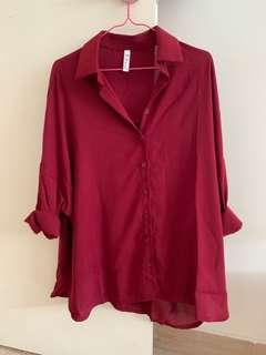 🚚 brand new burgundy/plum oversized shirt